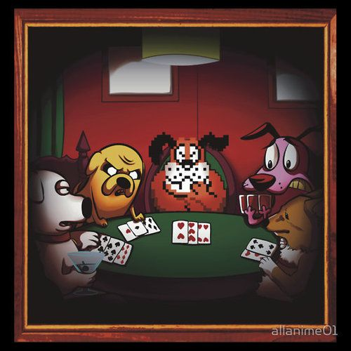 Crossover Dogs Playing Poker Brian Jake Dog From Duck Hunt