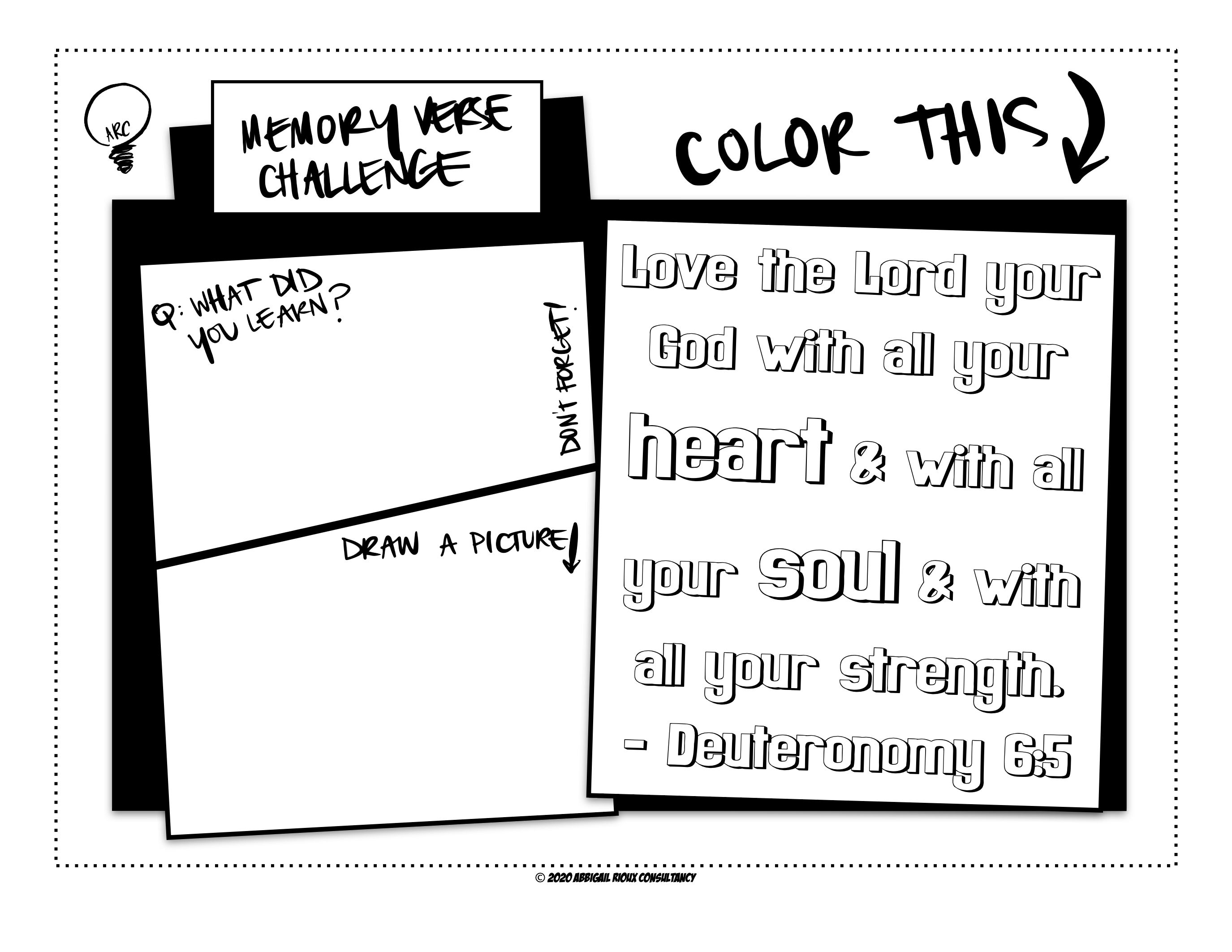 Kids Memory Verse Coloring Worksheet