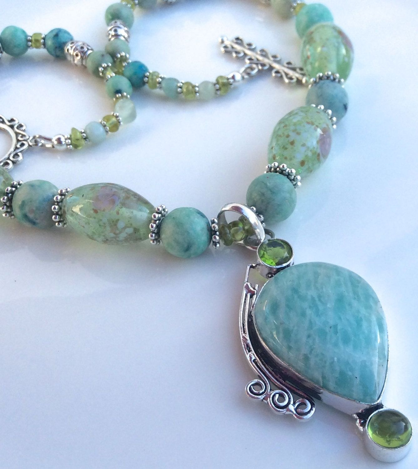 Amazonite and Peridot Pendant with Frosted Azurite and Peridot Necklace by BijouxJoaillier on Etsy - SOLD