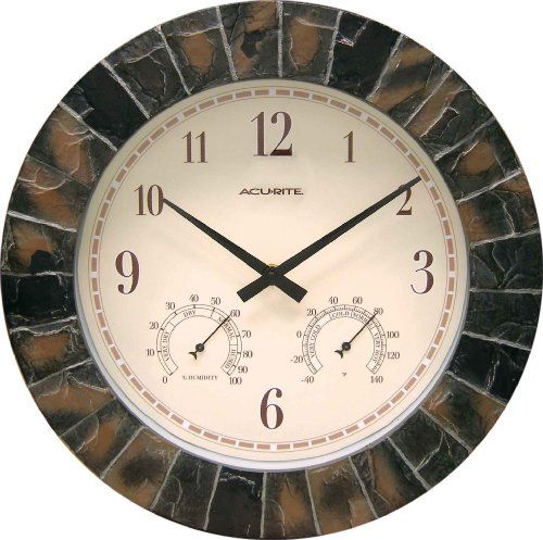 Chaney Instruments Acu Rite 02418 14 Inch Faux Slate Indoor Outdoor Wall Clock With Thermometer Hygrometer Http Www Am Outdoor Wall Clocks Clock Wall Clock