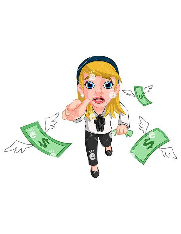 Businesswoman Chasing Money Vector Cartoon Clipart Friendlystock Cartoon Clip Art Business Women Free Vector Illustration