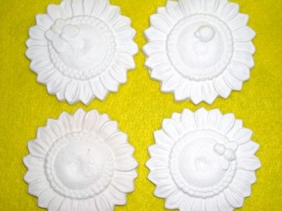 """Check out this cute set of Sun Flowers one plain next one with a bee next one Butterfly and one with a Lady Bug so cute with fun detail at approx 2""""Round..."""