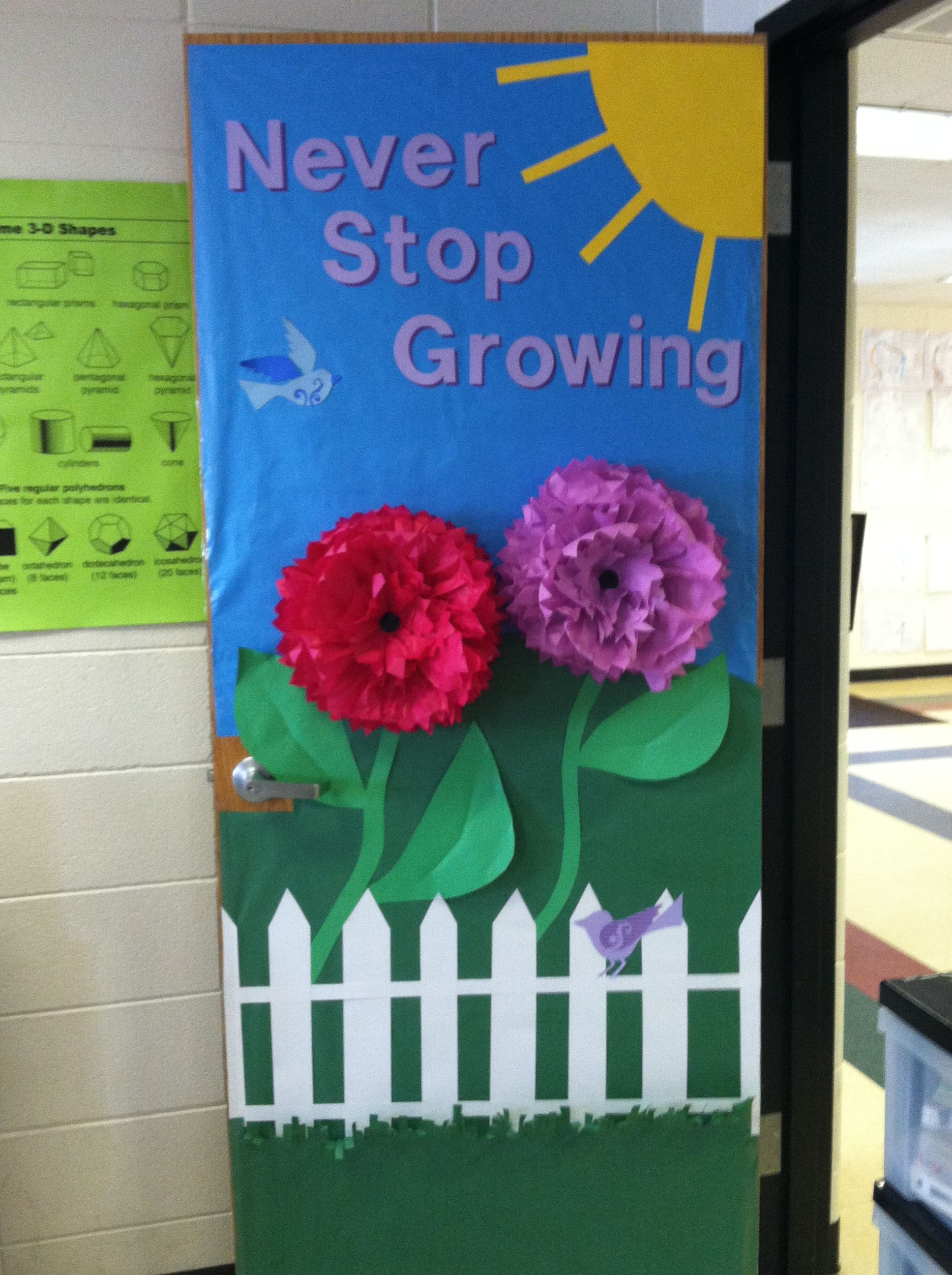 Spring door decorations classroom spring classroom door for Door stop idea