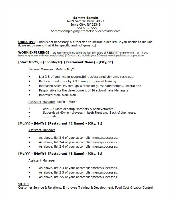 Resume Template for Restaurant Manager or Grocery Store Manager