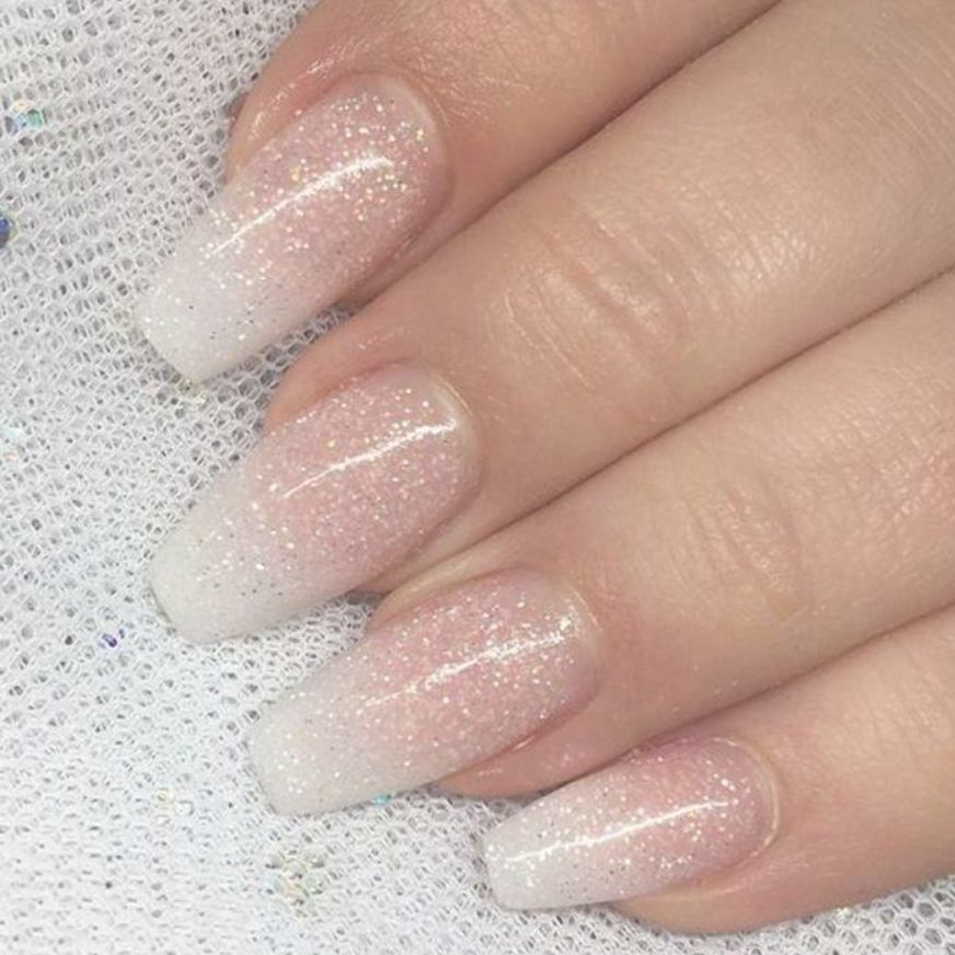 French Ombre Nails With Gold Glitter Baby Boomer Coffin Nails Ombre Nails Acrylic Nails Ombre Acrylic Nails Coffin Nails Ombre French Nails