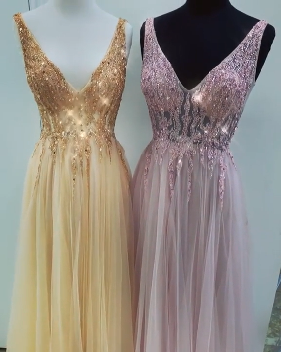 7b3d444474 Elegant Long Princess V-neck Tulle Backless Gold Prom Dresses to fit your  Style