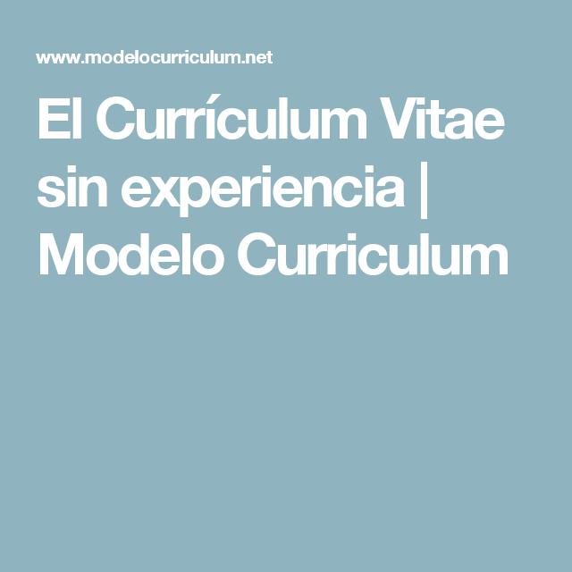 El Currículum Vitae sin experiencia | Modelo Curriculum | Ideas para ...