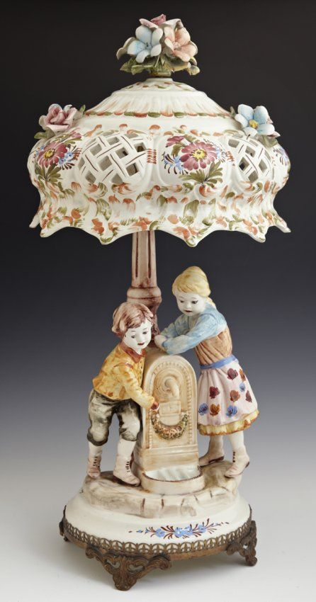 Capodimonte Style Table Lamp 20th C By Bassano