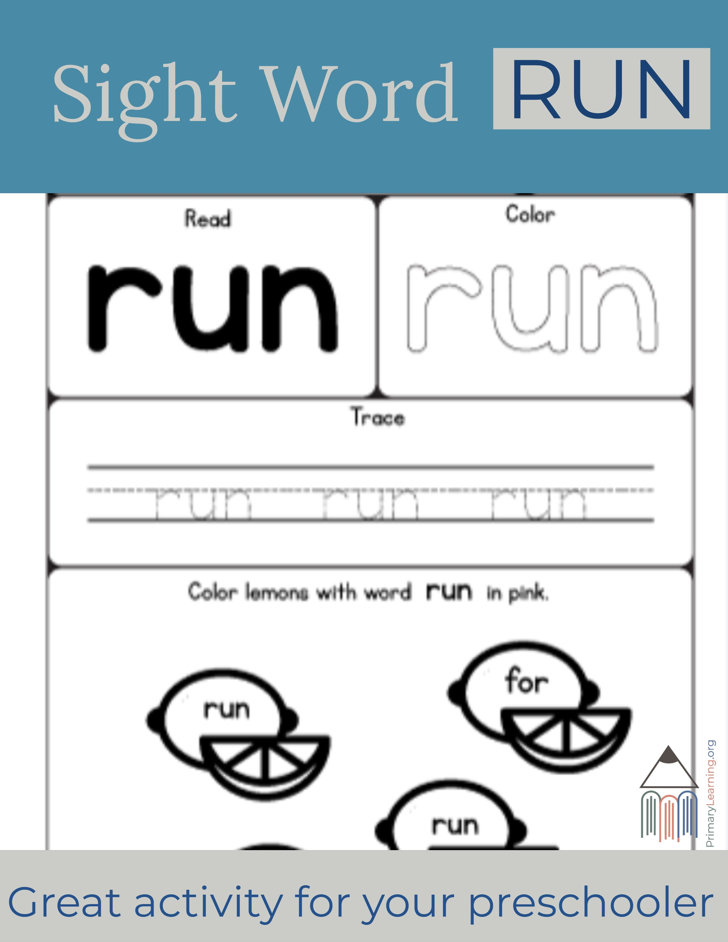 Sight Word Run Worksheet