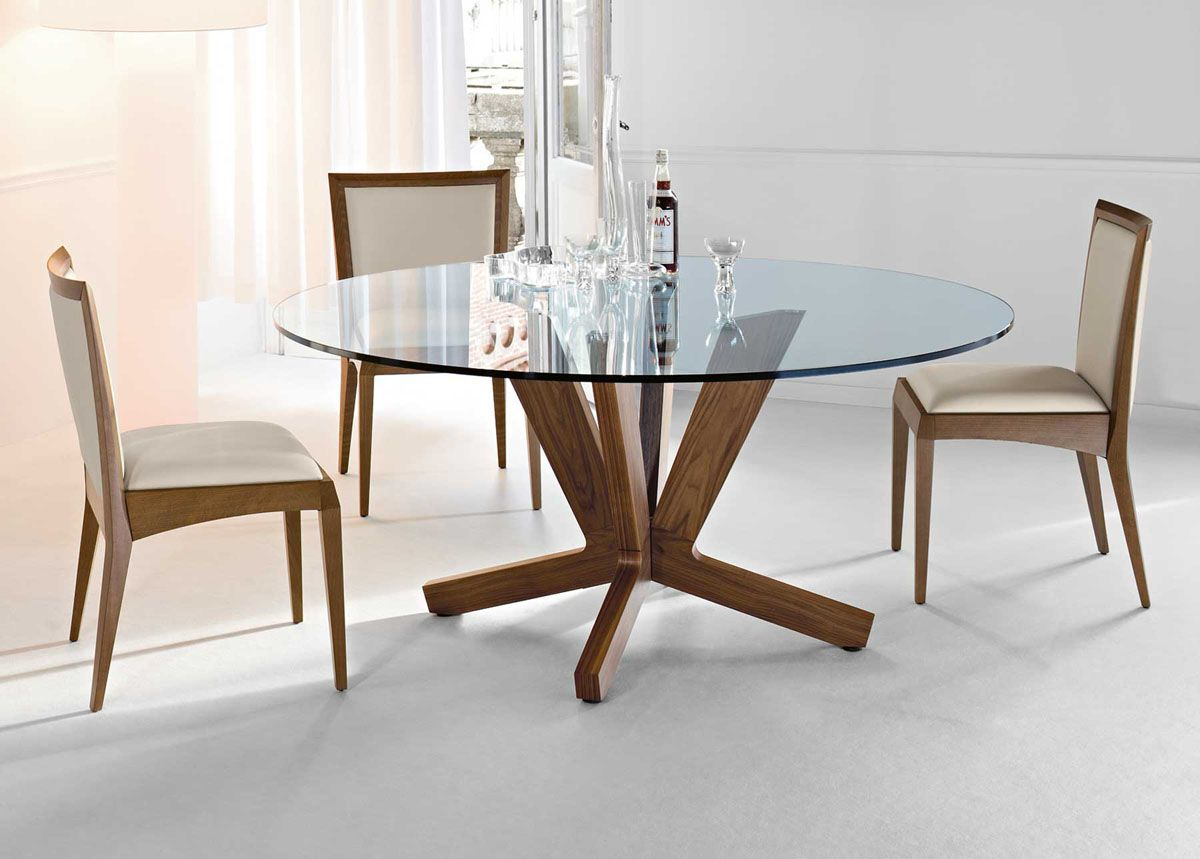 Pure Glass Dining Table Furniture Design Glass Round Dining