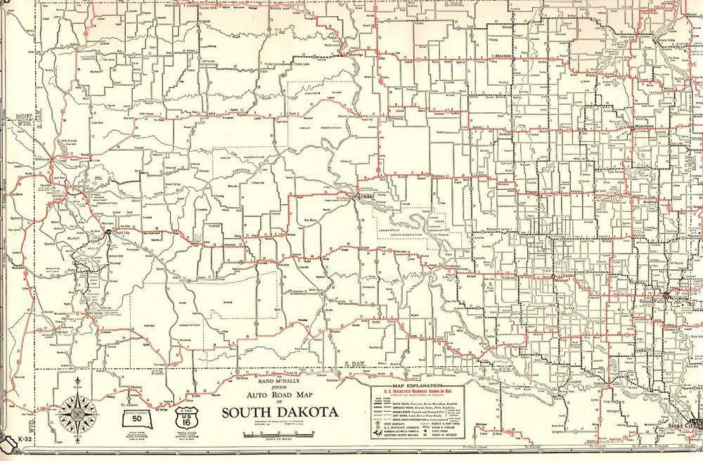 1930 Antique SOUTH DAKOTA State Map Auto Road Map US ...