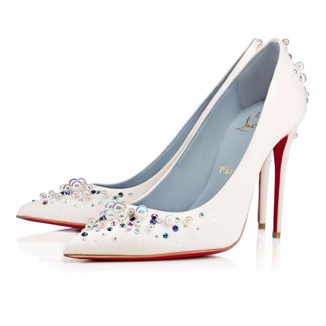 Scarpe Sposa The Woman In White.Scarpe Eleganti Da Sposa Di Louboutin Bianche Con Applicazioni Di