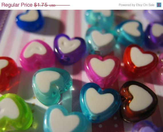 Summers End Sale 20 Mixed HeArT Lucite Beads Bead by LunasSecrets, $1.40