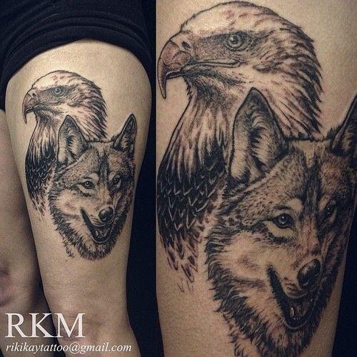 Wolf And Eagle Thigh Tattoo Thigh Tattoo Men Flower Thigh Tattoos