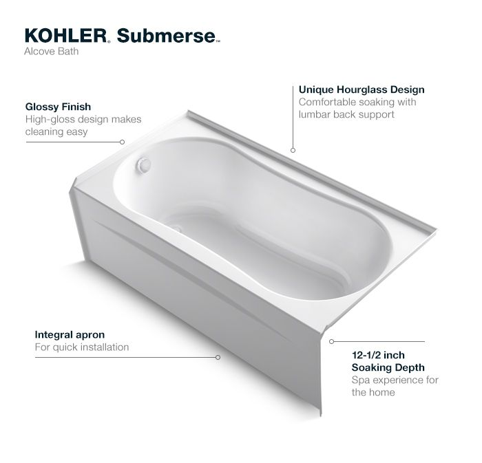 Kohler Submerse 5 Ft Right Drain Soaking Tub In White
