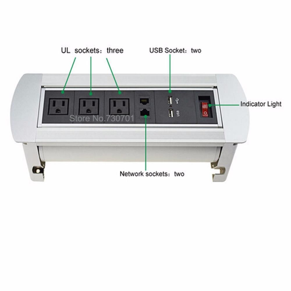 USA standard with 3 US AC power 2 network 2 charge USB 1 switch ...