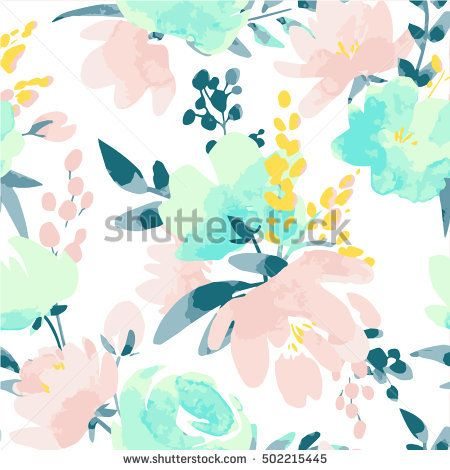 Vector Watercolour Floral Pattern Delicate Flowers Yellow Blue