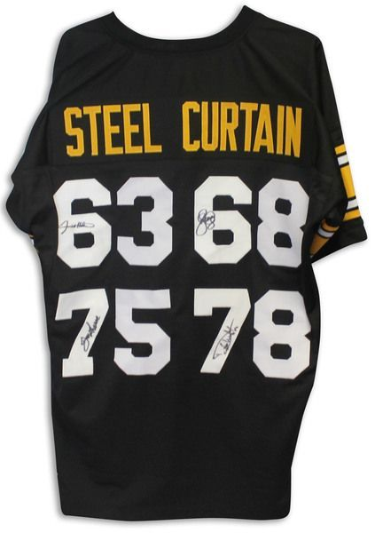Steel Curtain Pittsburgh Steelers Autographed Black Jersey Signed by