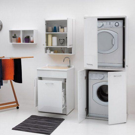 Mobile per lavanderia con porta lavatrice e asciugatrice - Mobile lavatrice asciugatrice ikea ...