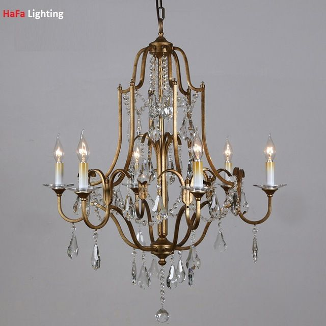 Modern Wrought Iron Chandelier Crystal Antique Bronze Iron Crystal