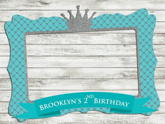 Blue Photo Frame   Customize Photo Booth Props   Baby Shower   Birthday    Printable Frame