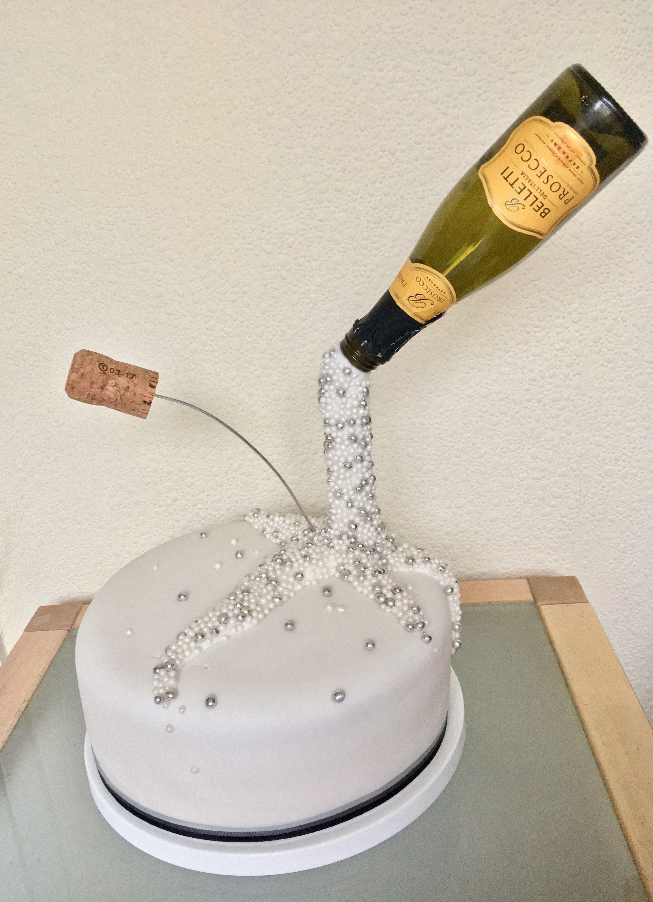 Prosecco Pouring Birthday Cake Anti Gravity Celebration