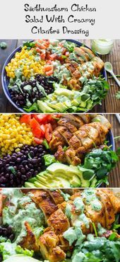 Southwestern chicken salad with creamy cilantro dressing is 1000x more delicious fresher and healthier than any restaurant salad at a fraction of the priceSpring is just...