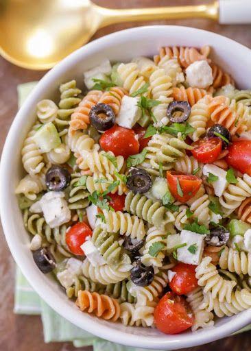 Pasta Salad With Feta Recipe In 2019 Greek Salad Pasta