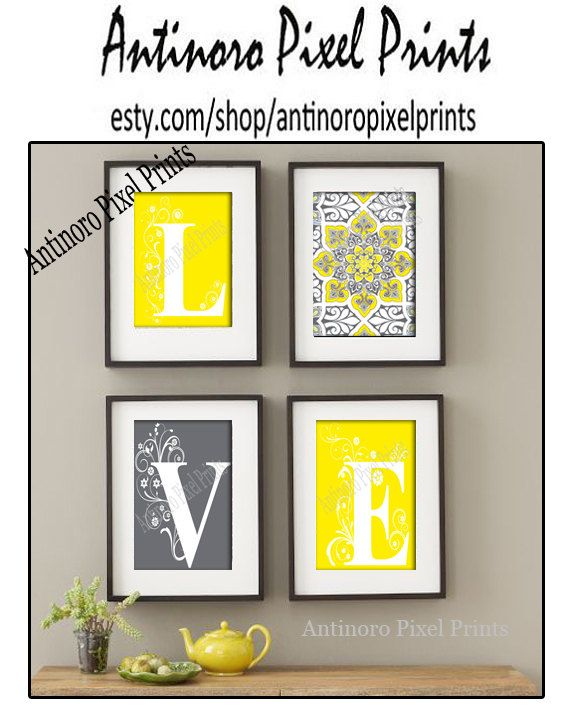 Home Decor Digital Love Yellow Greys White Wall Art Vintage / Modern ...