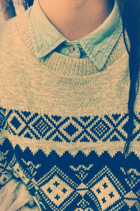 sweater and denim collared shirt.