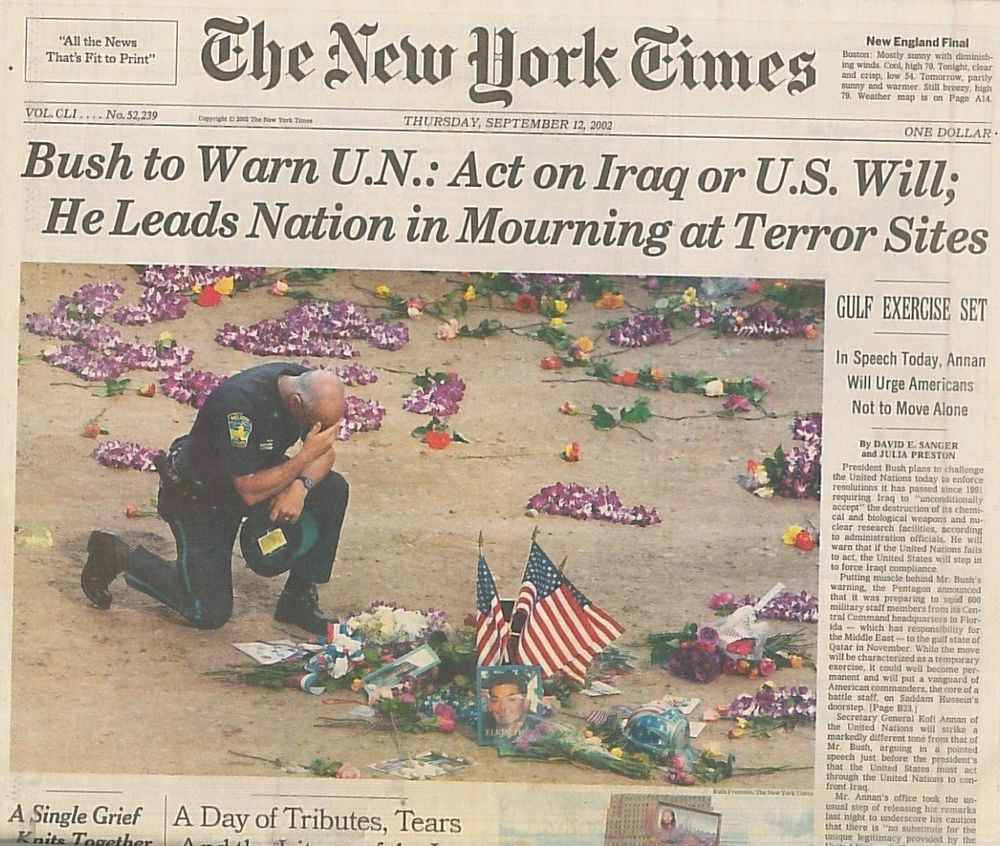 9 11 Bush To Warn Un Act On Iraq Or Us Will A Day Of Tributes Sept 12 2002 B4