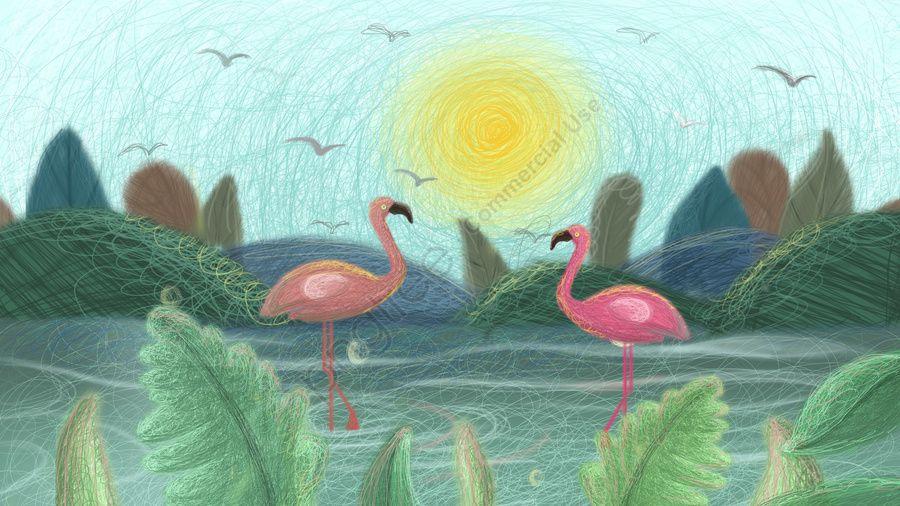 شفاء الطائر في ماء الملف ملف شفاء مصنع صورة توضيحية على Pngtree غير محفوظة الحقوق Flamingo Illustration Plant Illustration Image Illustration