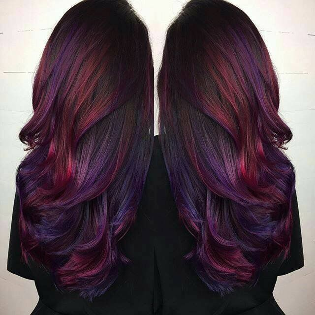 Red And Purple Highlights Hair Love Pinterest Hair Purple
