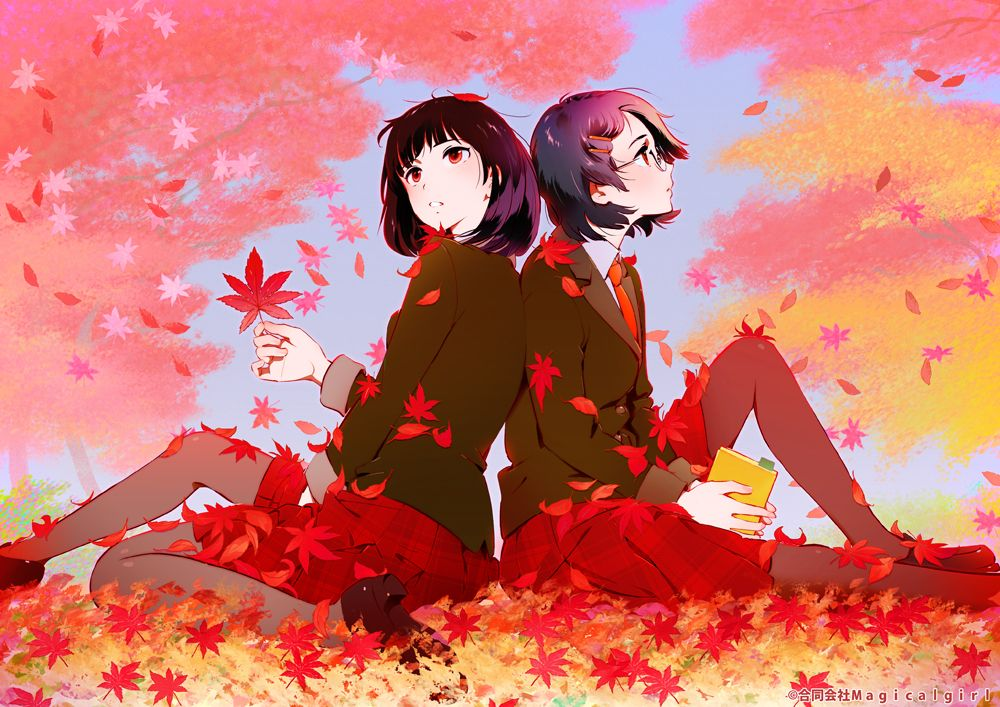 anime girl with maple leaves Pretty anime style pics