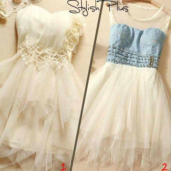 2 cute prom dresses blue and white