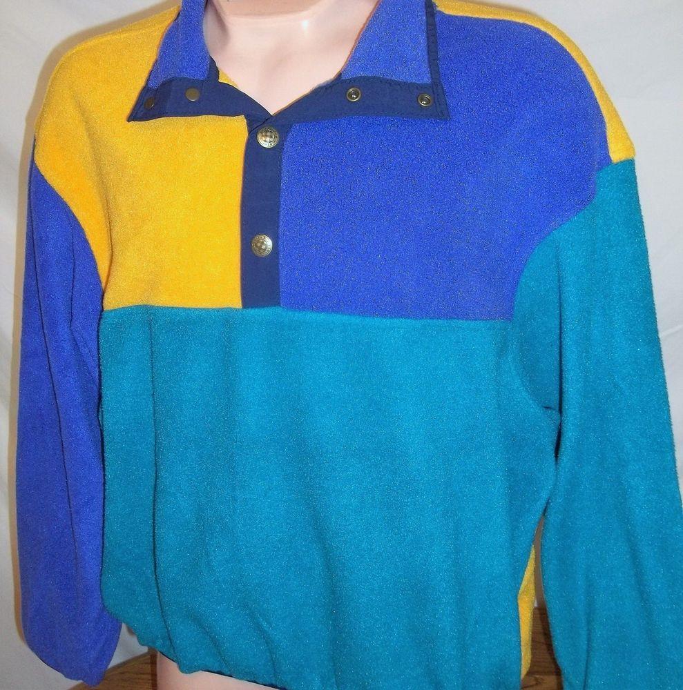 Woolrich Mens VTG Colorblock Snap T Fleece Pullover Jacket - Sz Large L #Woolrich #Pullover