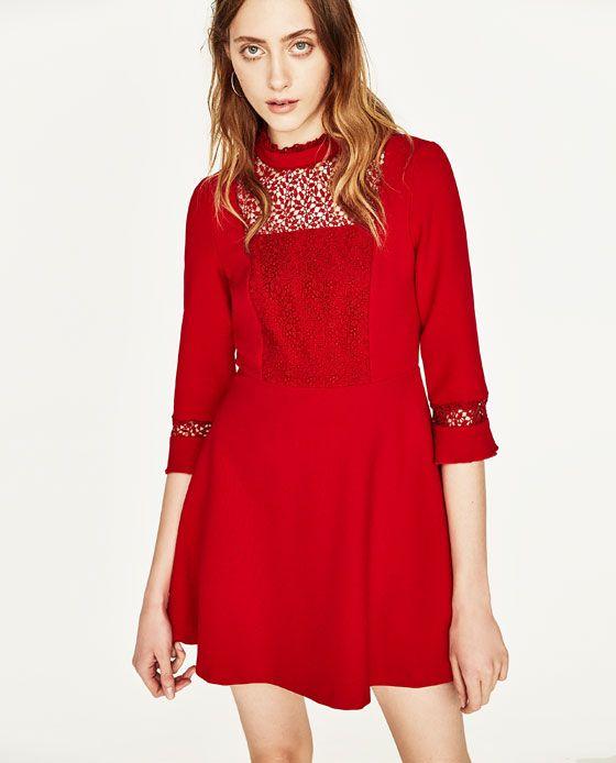GuipurGuipurVestidos Vestido Rojo Zara GuipurGuipurVestidos Vestido Y 9YEHIW2D