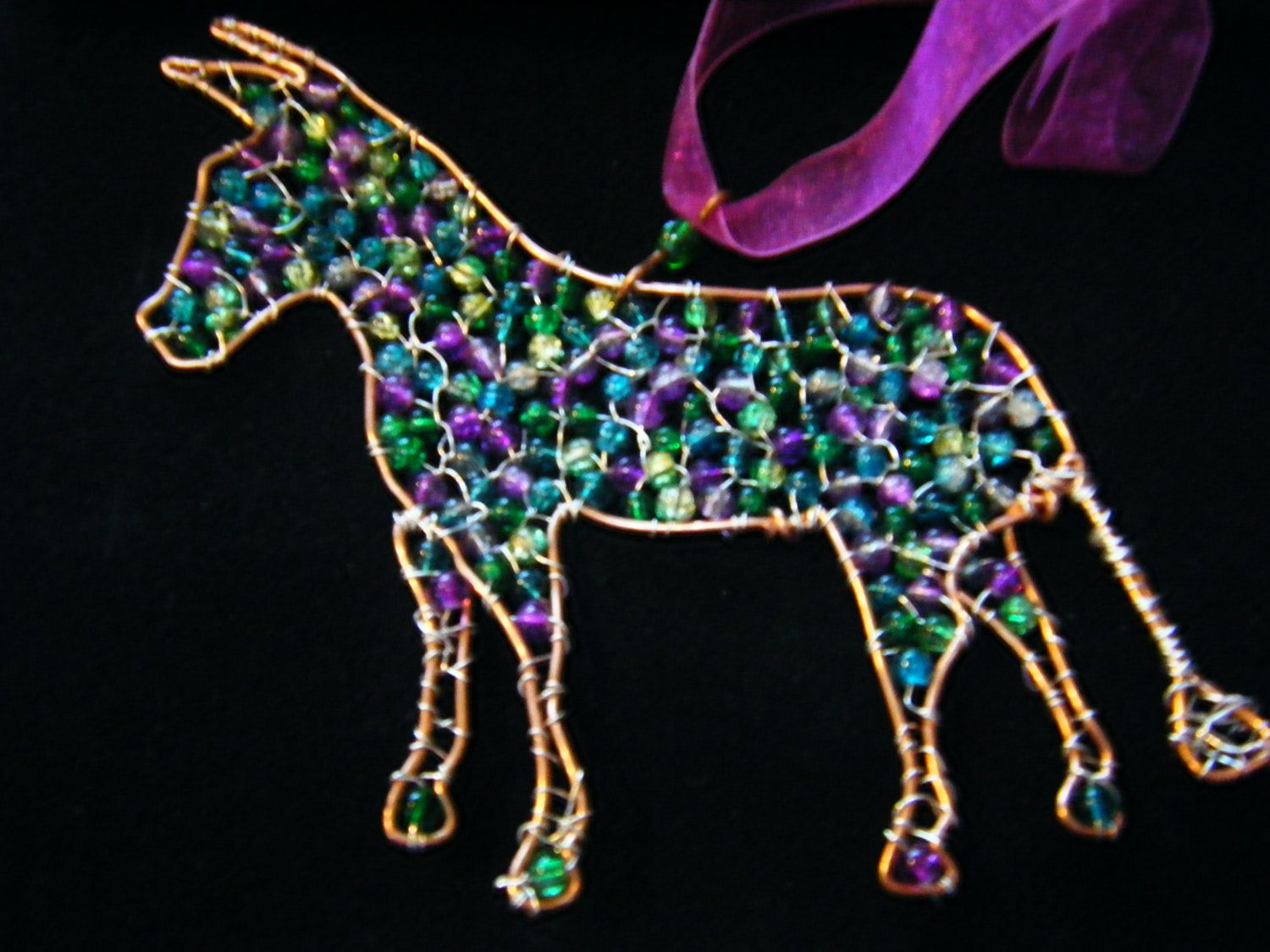 Copper Wire Donkey/Mule Hanging decoration, Wire work with Purple ...