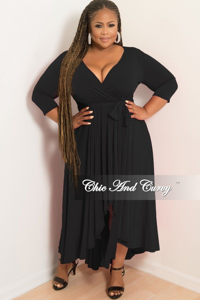 5077d9c7c00 Plus Size Faux Wrap High-Low Dress with Attached Tie in Black – Chic And  Curvy