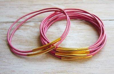 Pink Leather Bangle Set - £13.50 - Free Shipping!