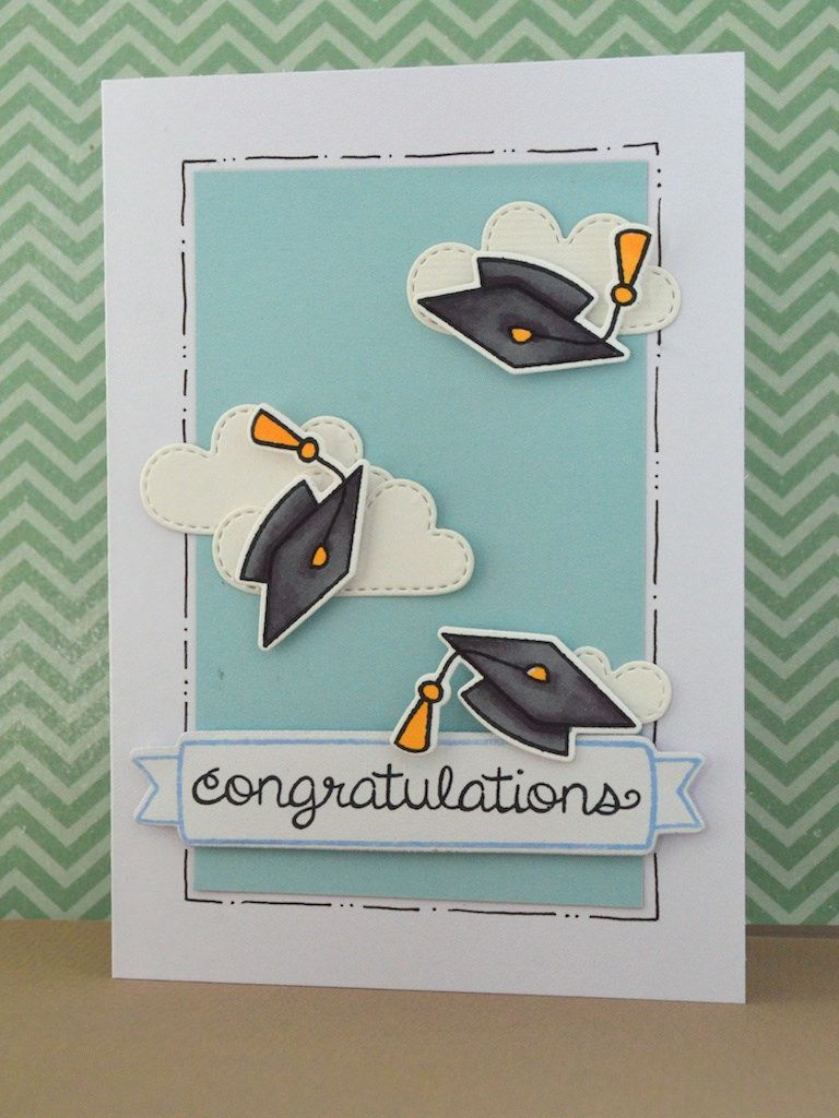 Card Making Ideas Graduation Part - 44: Graduation Hats Lawn Fawn Hats Off To You, Scattered Showers And Penelopeu0027s  Blossoms