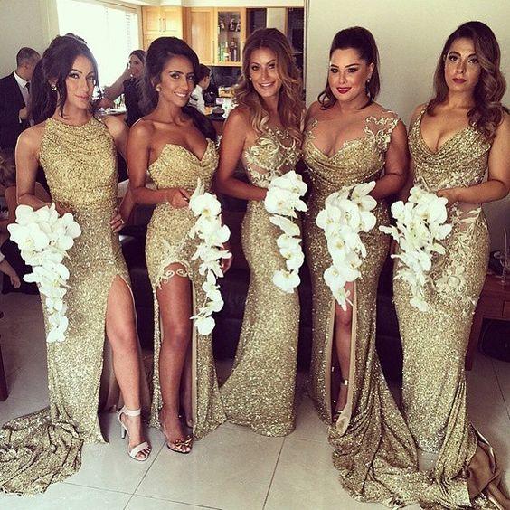 22 Glamorous Gold Bridesmaid Dresses