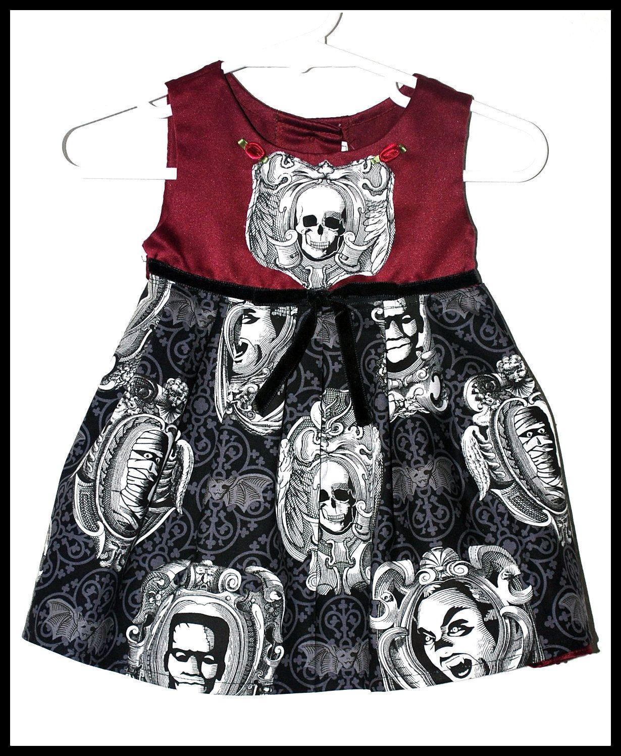 c538c3c50cf Girls Rockabilly Gothic Dress in Burgundy   Monster Cameos ... Size 3-6  months girls by DollfaceBettys on Etsy
