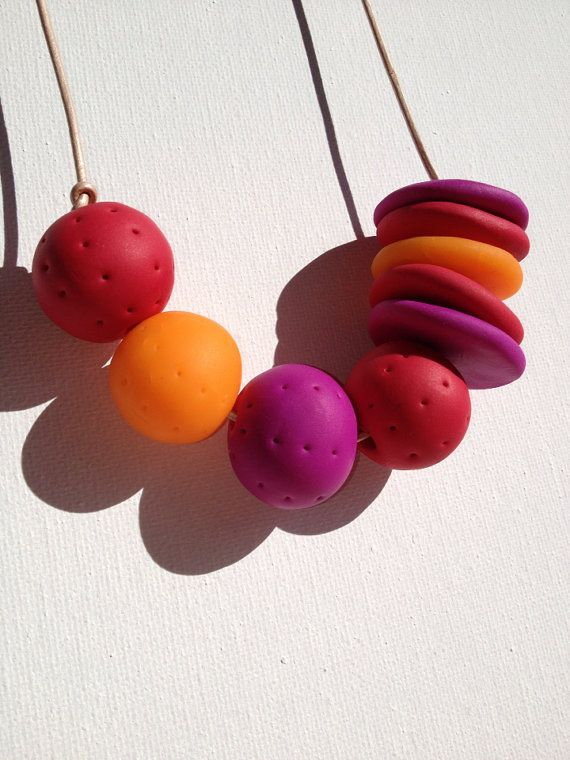 Red, Purple, Orange Polymer Clay Beaded Necklace on Natural Leather