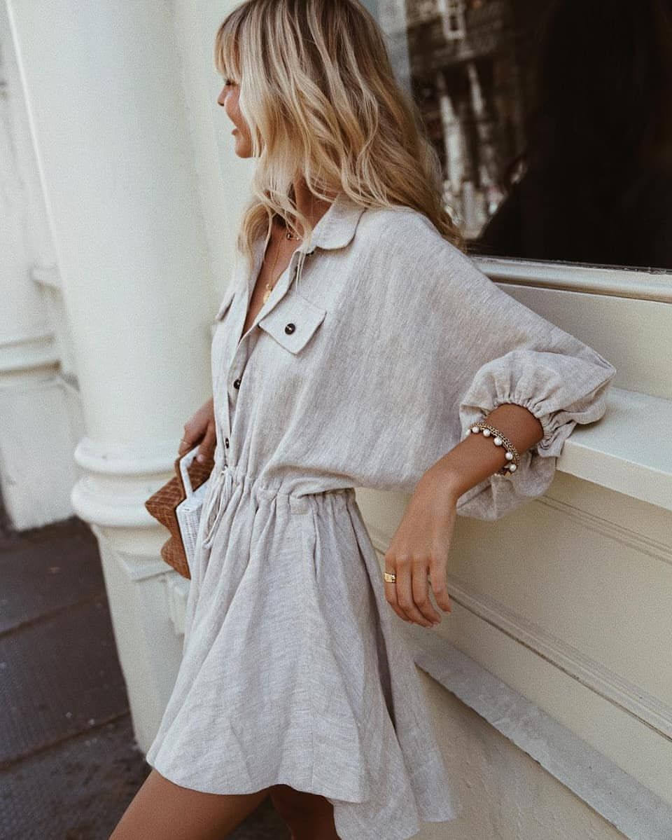 "ee6cf47e4a0 Shona Joy 在 Instagram 上发布:""So in-love with  saasha burns in our fave Atticus  Linen Dress from the Spring 18 Collection 🙌  shonajoy"""