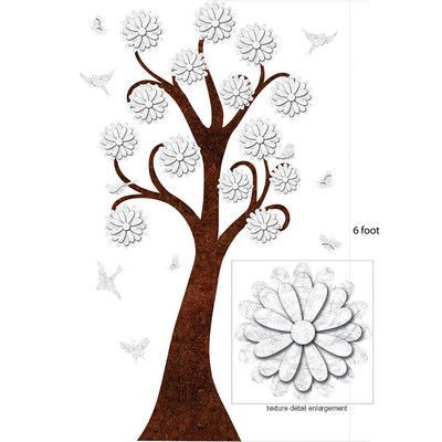 My Wonderful Walls Flowering Tree Sticker Color: White