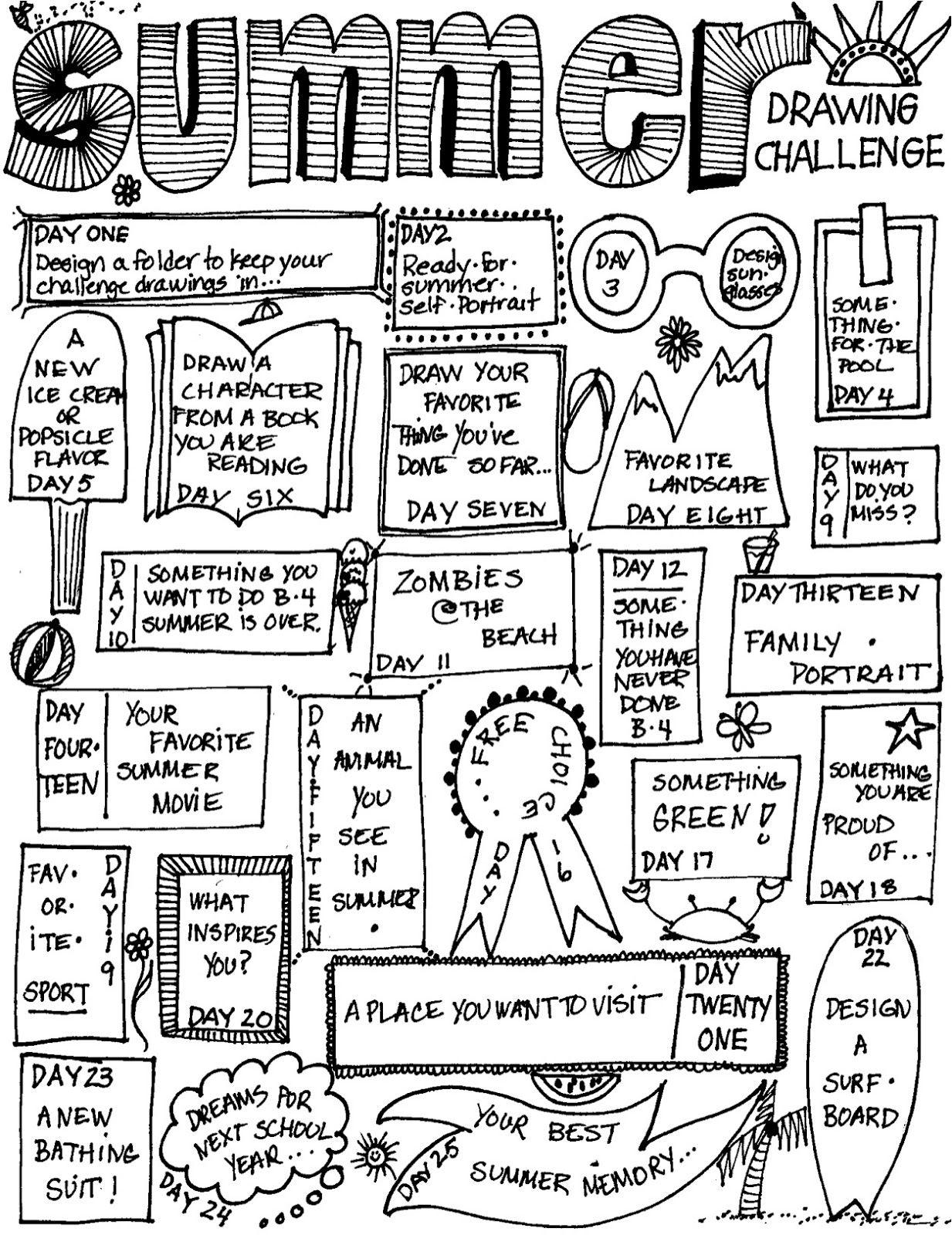 Mizzsmiff S Art Room Summer Drawing Challenge