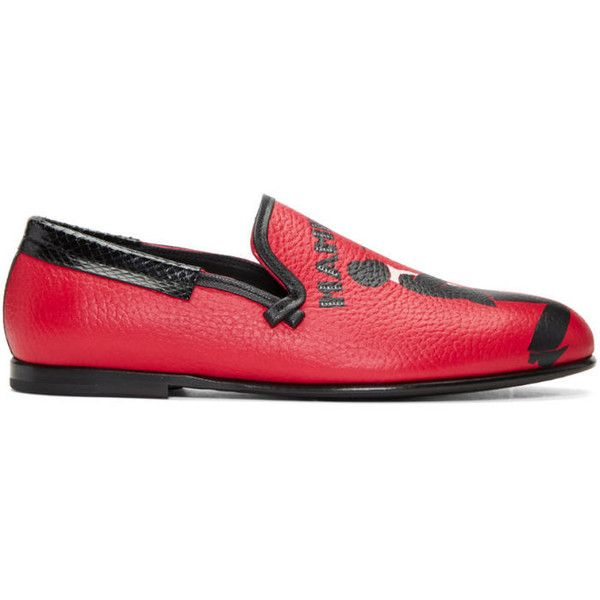 Dolce and Gabbana Red Mambo Loafers ($360) ❤ liked on Polyvore featuring  men's fashion, men's shoes, men's loafers, men, red, leather sole mens sho…