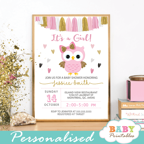 Pink And Gold Owl Baby Shower Invitations D128 Owl Baby Shower