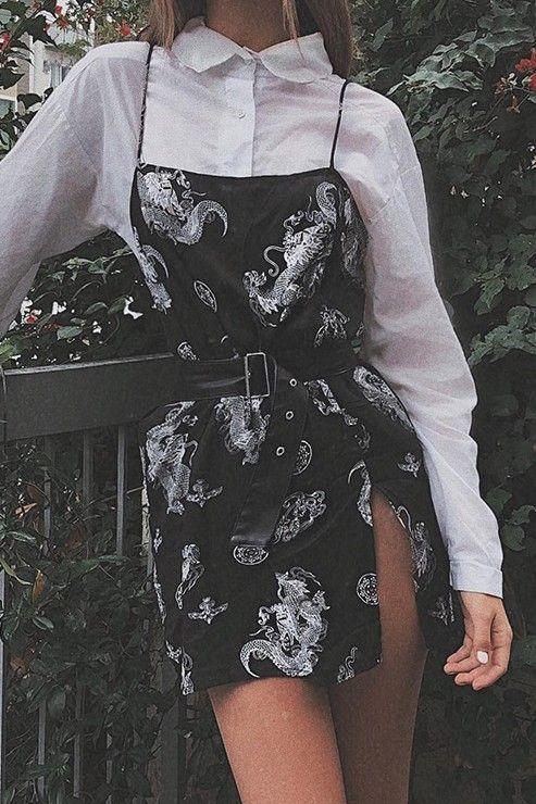 Black Slip Dress with White Dragons